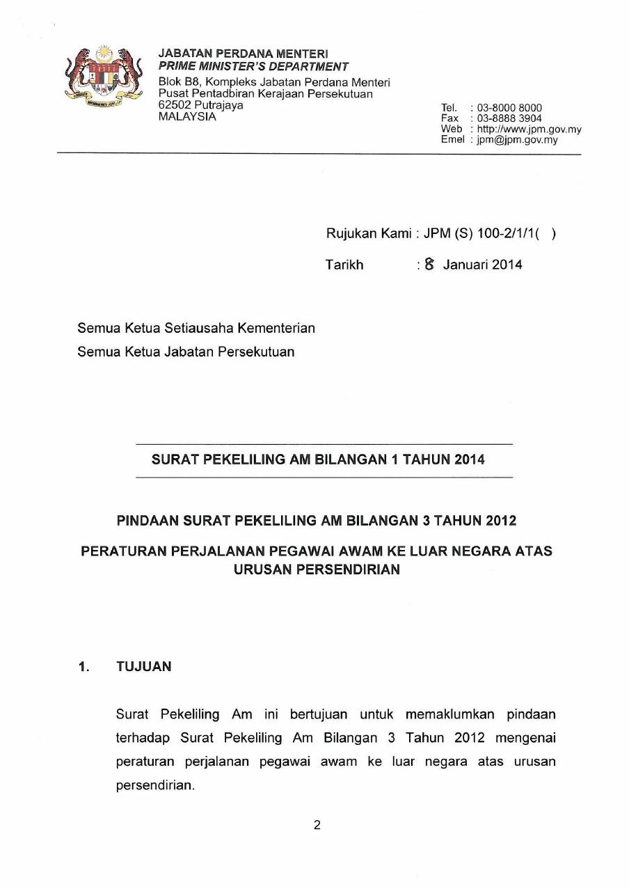 Surat Pekeliling Am Bil 1 Tahun 2014 Peraturan Perjalanan Pegawai Awam Ke Luar Negara Atas Urusan Persendirian Pdf Document